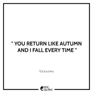 You return like autumn and I fall every time