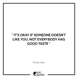 It's okay if someone doesn't like you, not everybody has good taste